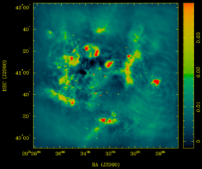 An ATA image of the Cygnus OB-2 region at 3.09 GHz, centered on Cyg X-3. Flux density scale is Janskys. Bandwidth is 180 MHz. The synthesized beam is indicated in the bottom left corner but it's a bit hard to make out. [Full size version](../../../wp/wp-content/uploads/2010/08/cygx3-large.png).